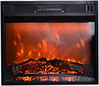 18 Inches Electric Fireplace Insert Recessed Fireplace Heater, with Glass LED Flame Logs, Remote Control Adjustable Power, 1500W, Black