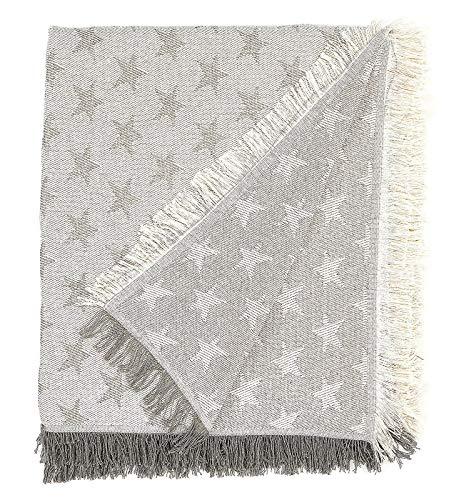 EURASIA® Colcha Multiusos para Sofá Estampado Estrellas - Plaid Multiusos para Cama - Foulard - Ideal para Sofás y Camas (Gris, 180 x 260 cm)