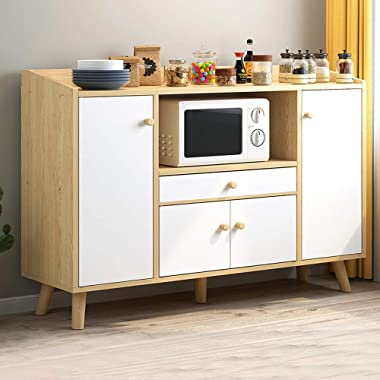 Wooden Sideboard Storage Cabinet with 1 Drawer 4 Doors, Floor Standing Buffet Table Display Cupboard Credenza Unit for Kitchen Living Room Dining Room Hallway Small Spaces, Natural