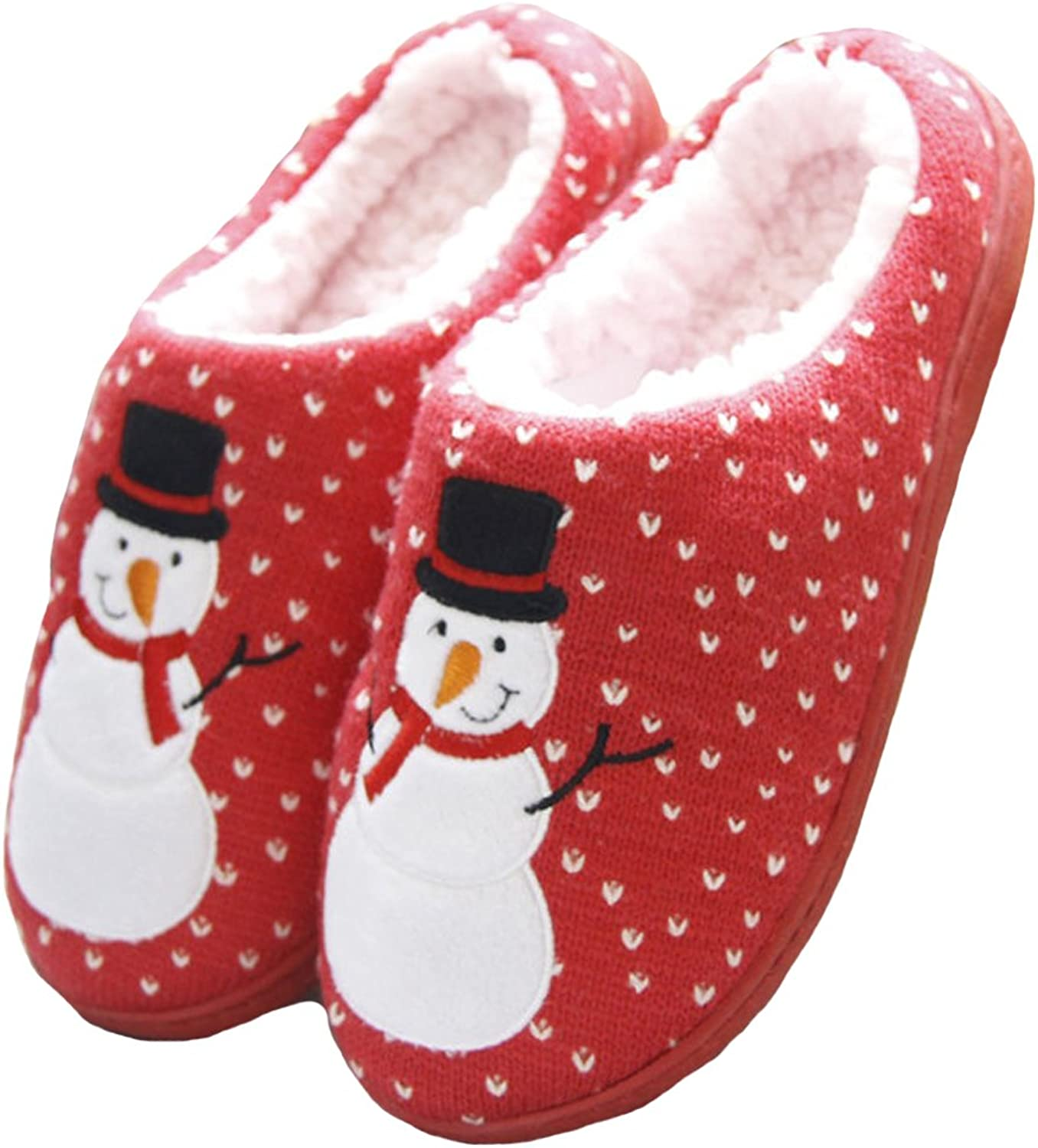 HW-GOODS Mens and Womens Snowman Print Couple Slippers Winter House shoes