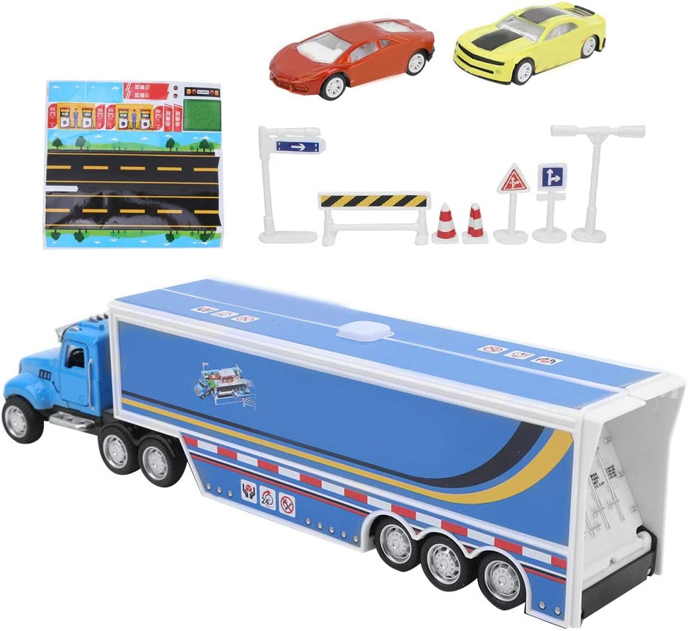 alliage enfants r/éservoir de carburant camion enfant voiture jouet mod/èle avec effet de musique l/ég/ère pour enfants Bleu 1:64 /échelle de mod/èle de voiture de station-service ensemble