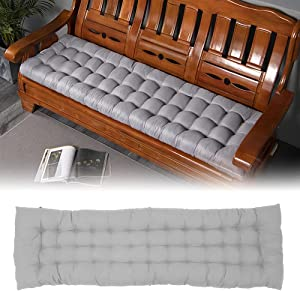 Indoor/Outdoor Bench Cushion,Patio Loveseat Swing Cushion Soft Thicken Seat Pads with Ties for Lounger Garden Furniture Bench(Without Chair) (Gray, Three Seat)