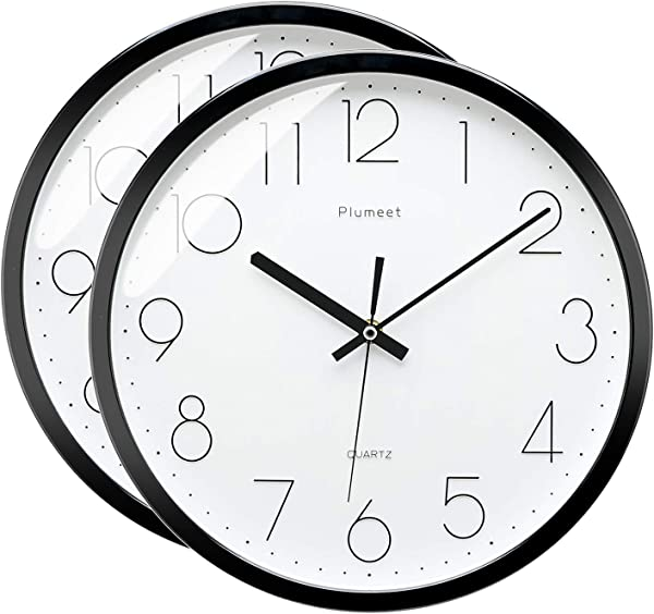 Plumeet 12 Inches Modern Quartz Wall Clock Silent Non Ticking Battery Operated Round Black 2 Pack