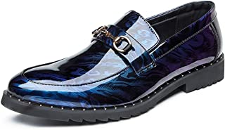 QinMei Zhou Men's Slip-on Oxfords Shoes Patent Microfiber Leather Business Casual Dress Wedding Loafers Anti-Slip Flat Metal Round Toe (Color : Blue, Size : 6.5 UK)