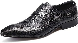 Chaussures Monk hommes,Chaussures en cuir d'affaires Chaussures Robe de mariée banquet Boucle simple Chaussures Pointu,Bla...