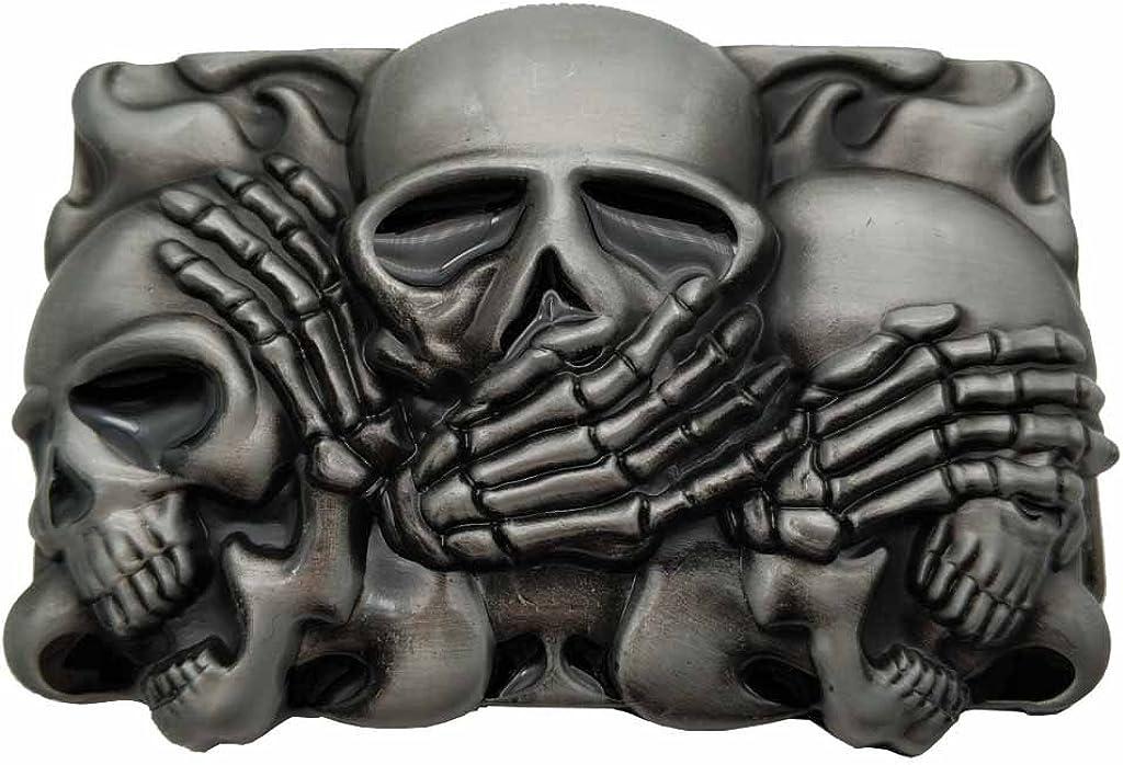 YONE Hebilla de cinturón Rock Punk Skull Belt Buckle