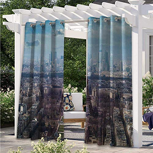 Adorise Outdoor Blackout Curtains Aerial View of Eiffel Tower Clear Day Boulevard Busy Town Park Skyscrape Waterproof Patio Curtains Great for Your Outdoor Deck Light Blue Brown W84 x L84 Inch