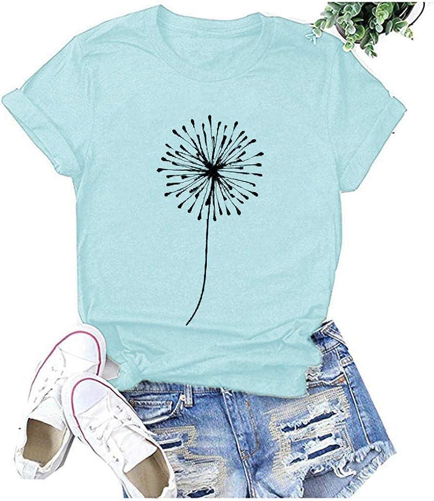 POLLYANNA KEONG Shirts for Women,Women's Heart Printed Short Sleeve Shirts Casual Comfy Short Sleeve T-Shirt Tunic Tops Blue