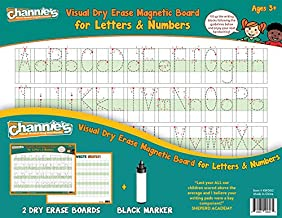 """Channie's 2-Pack Visual Dry Erase Magnetic Boards with Marker, Tracing, Printing, and Writing Alphabet, Letters, and Numbers, Size 8.5"""" x 11"""", Ages 3 and Up, PreK – 3rd"""