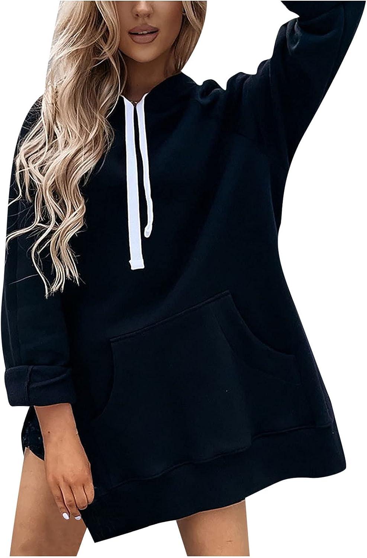 Women Hooded Dress Casual Finally popular brand Loose Pu Sweatshirts Sleeve Tunic OFFicial shop Long