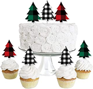 Big Dot of Happiness Holiday Plaid Trees - Dessert Cupcake Toppers - Buffalo Plaid Christmas Party Clear Treat Picks - Set of 24