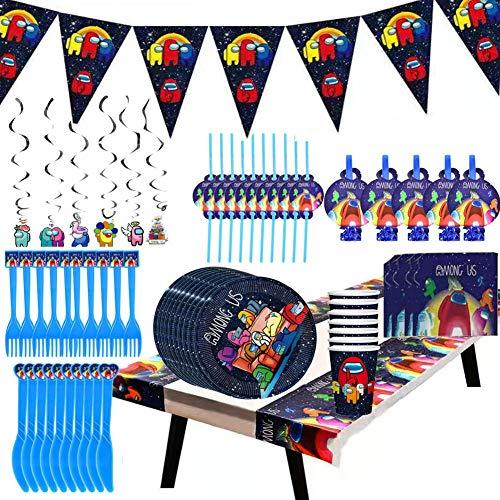 Among us Party Supplies Juego de Decoración,84 pcs Party Supplies Juego de Decoración Happy Birthday Party Vajilla para Cumpleaños de Niños Cartoon Among us Theme Artículos para Fiesta de Cumpleaños