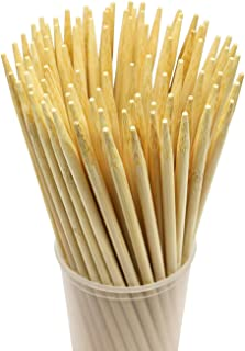 Prouten 7 inch 100 pcs Sturdy Bamboo Sticks for Caramel Candy Apple Sticks Corn Dog Hotdog Sausage skewers Candy Lollipops Corn Sticks semi-Pointed Tips Safe for Kids Pack of 100pcs