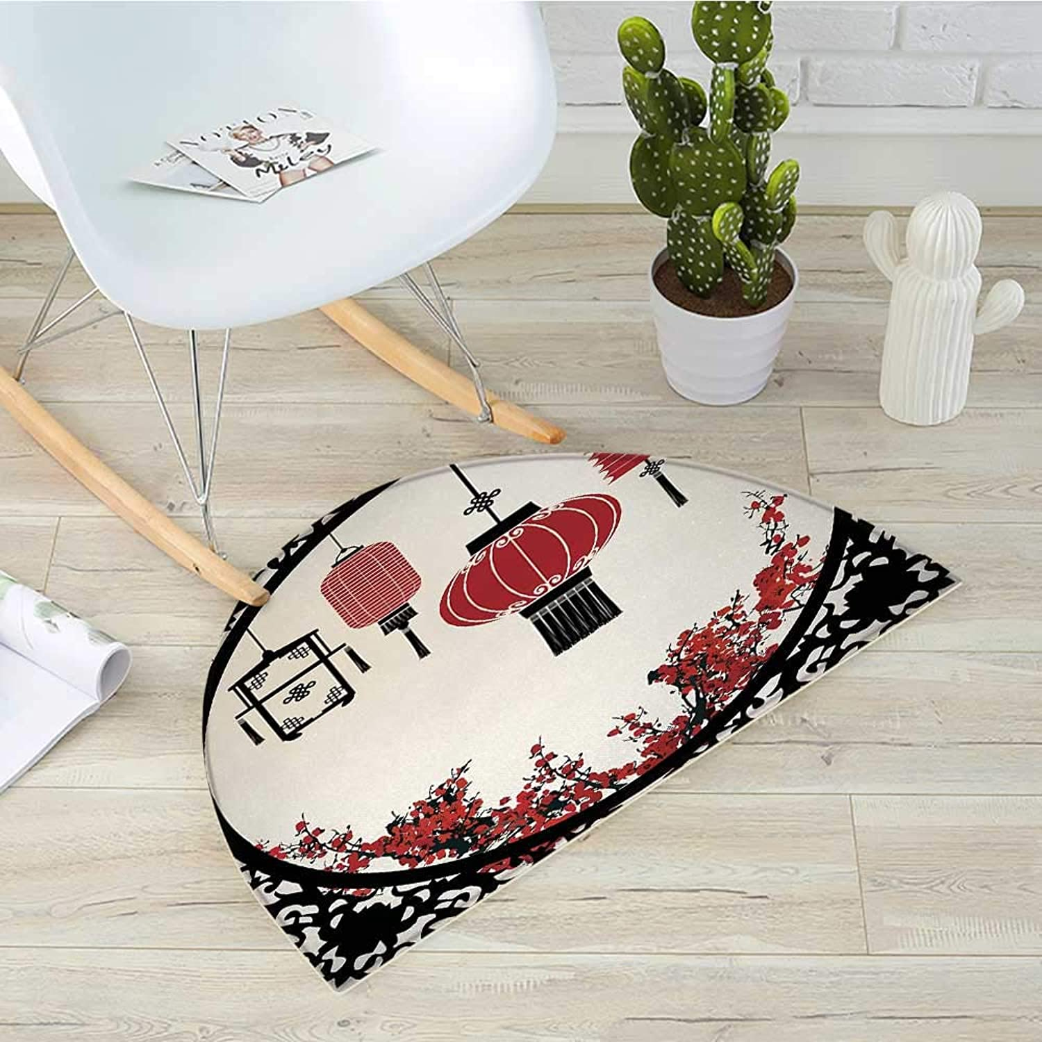 Lantern Semicircular CushionLanterns with Japanese Sakura Cherry Blossom Trees Round Ornate Figure Graphic Entry Door Mat H 39.3  xD 59  Red Beige Black