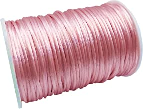 FQTANJU 2mm x 100 Yards Premium Quality Rattail Nylon Satin Cord Roll, Kumihimo Rattail,Chinese Knot, Pink