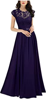 Miusol Elegante Encaje Gasa Fiesta Vestido Largo para Mujer