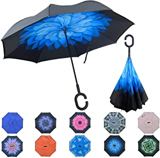 Umineux Inverted Umbrella, Double Layer Reverse Folding Umbrella Windproof UV Protection Large Straight Umbrella Upside Down for Car Rain Outdoor with C-Shaped Handle