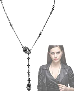 Cross Necklace for Men and Women Long Gothic Jewelry Cool Skull Rock Punk Black Necklaces with Stainless Steel Chain