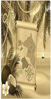 3D Decorative Film Privacy Window Film No Glue,Island Map,Monochrome Retro Treasure Map on a Tropical Escape Sandy Beach with Palms Exotic,Sepia,for Home&Office