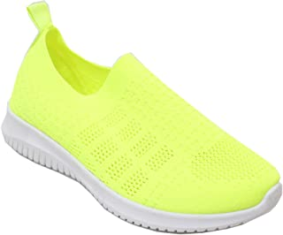 H2K Women's Classic Comfort Causal Sneaker Cushion Breathable Mesh Knit Lightweight Walking Slip on Shoes Fashion