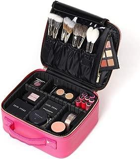 women ROWNYEON PU Leather Makeup Case Mini Makeup Bag Portable Travel Makeup Bag EVA Makeup Train Case Best Girl (Pink Small)