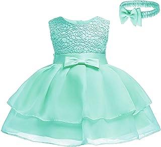 6cc768fc4aed5 KINLOU Enfant Robe De Bébé Fille - Mignon Jolie Bowknot Élégant Floral  Mariage Pageant Baptême Robe