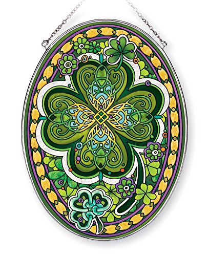 Amia Large Four Leaf Irish Clover, Hand-Painted Glass Oval Suncatcher, 9 Inches High, 42366, 9'