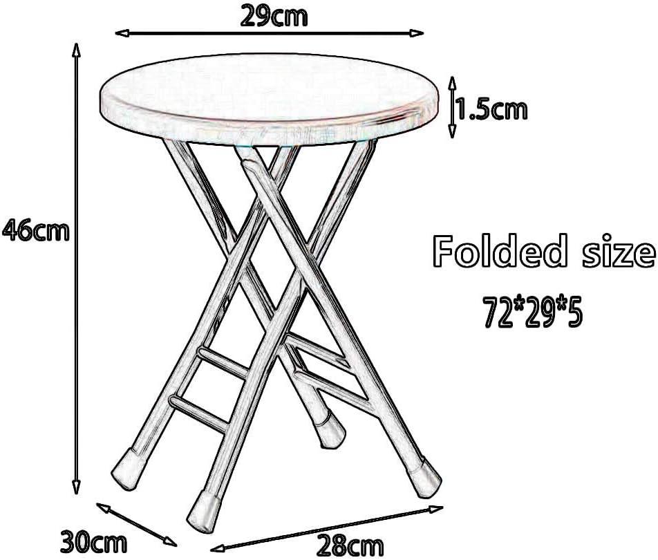 YCSD Tabouret Pliable Forme Ronde Tabouret en Placage De PVC MDF Chaise De Camping en Plein Air Portable De Ménage Gain De Place Pliable, Hauteur 46cm (Color : A2) A2