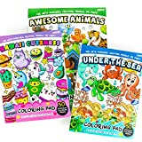 Horizon Group USA Coloring Pads Bundle Pack, Includes 3 Coloring Books with 50 Sheets Each, Featuring Cute Themes, Characters, and Animals, Stress Relieving Designs, Coloring Books for Adults and Kids