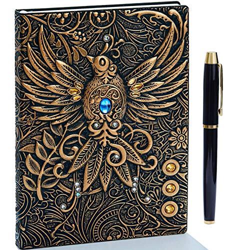 Taccuino vintage 3D in pelle goffrata con penna dorata, A5, 200 pagine, blocco note giornaliero, diario di viaggio e taccuino per scrivere, regalo per donne e uomin