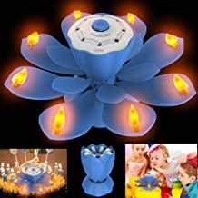 Homecube LED Birthday Candles, Flameless Musical Birthday Candles with 3 Adjustable Flash Modes, Rotatable Flower Birthday Cake Toy with Blow Out Design for Birthday Party Decoration (Blue)