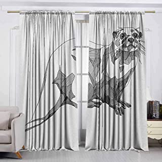 VIVIDX Decor Waterproof Curtains,Black and White,Sketch Otter Monochrome with Line Art Inspirations Animal Illustration,Great for Living Rooms & Bedrooms,W63x45L Inches Black White