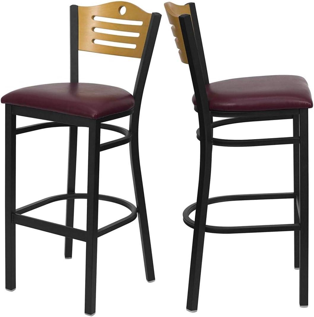 Set Cheap of Ranking TOP12 4 Metal Dining Bar Natural Stools Design Slat Back Wood
