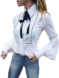 8cb2d851239b4 Wolfleague Chemisier Chemises Femmes Chic Manche Longue OL Blouse Travail  Blanc Basic Boutons Arc Attacher Revers