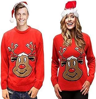 comprar comparacion Sudadera navideña para Hombre Mujer Unisex Navidad: Reno sonriente. Rojo. XS a XXL