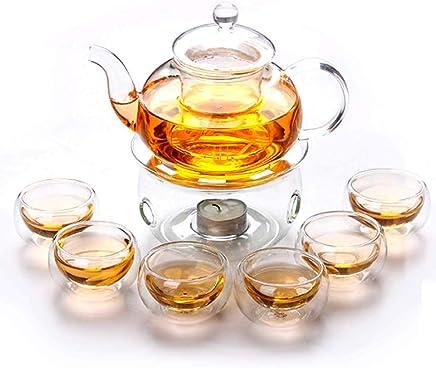 Liying Borosilicate Heat-resistant Glass Tea Pot Set Infuser Teapot + Warmer + 6 Double Wall Tea Cups Gift Set