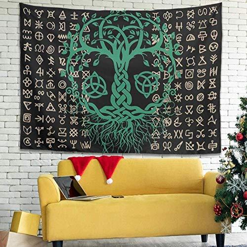 QIAO Tema Vikingo Tapiz Colorido Tapiz Funda de sof¨¢ para decoraci¨n de Dormitorio Blanco