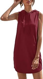 Women's Drawstring Solid Sweatshirt Dress Casual Short...