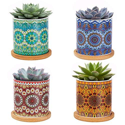 Danolt - Vaso per piante piccole in ceramica, motivo mandala, con vassoio in bambù, con foro di drenaggio, per interni ed esterni, 7,2 x 8 cm