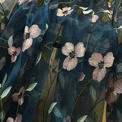 GGSSKY Cortinas de Tul Transparentes Bordadas Florales para Sala de Estar Niñas Jacquard Cortina de Ventana Pastoral para Cortinas de Dormitorio An. 150 cm x Al. 250 cm Azul
