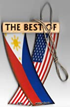 Philippines and USA Filipino American Asian Pacific Islander Flag Rear View Mirror Hanging CAR Flags Mini Banners for Inside The CAR Unity FLAGZ