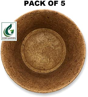 COIR GARDEN Coco Coir Flower Planter Pots for Balcony, Terrace Gardening - 8 inch - Pack of 5 (8 inch top Dia and 6.5 inch deep)