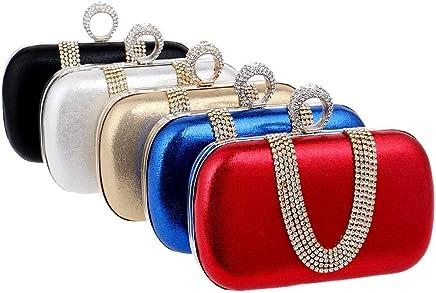 Ladies Handbag Finger Ring Diamonds Women Evening Bag Simple Chain Shoulder Handbags Mixed Crystal Wedding Evening Clutch Handbag (Size : Red)