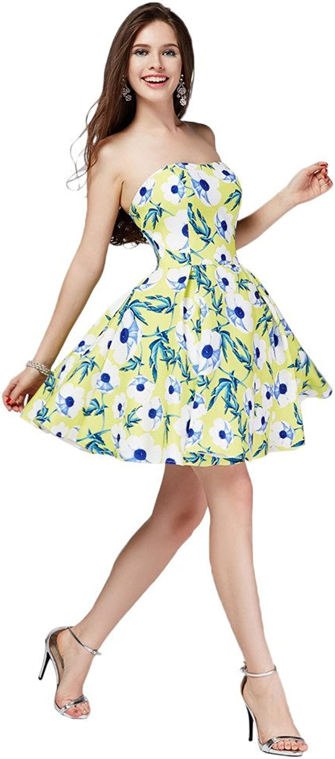 Angel Bride Fresh Summer Mini Ball Gown Flower Printing Party Homecoming Dress