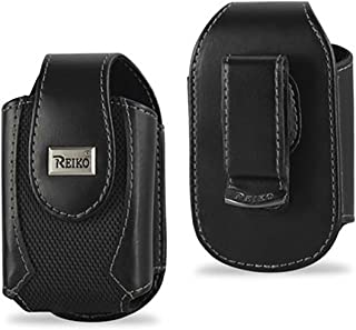 Classic Black Leather 3 inch Tall Magnetic case fits The Home&Wellness Belle+ Medical Alert Device