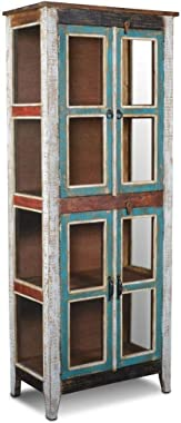 Crafters and Weavers Crafters and Weavers Rustic Distressed Reclaimed Wood China Cabinet Kitchen Cabinet Glass Bookcase