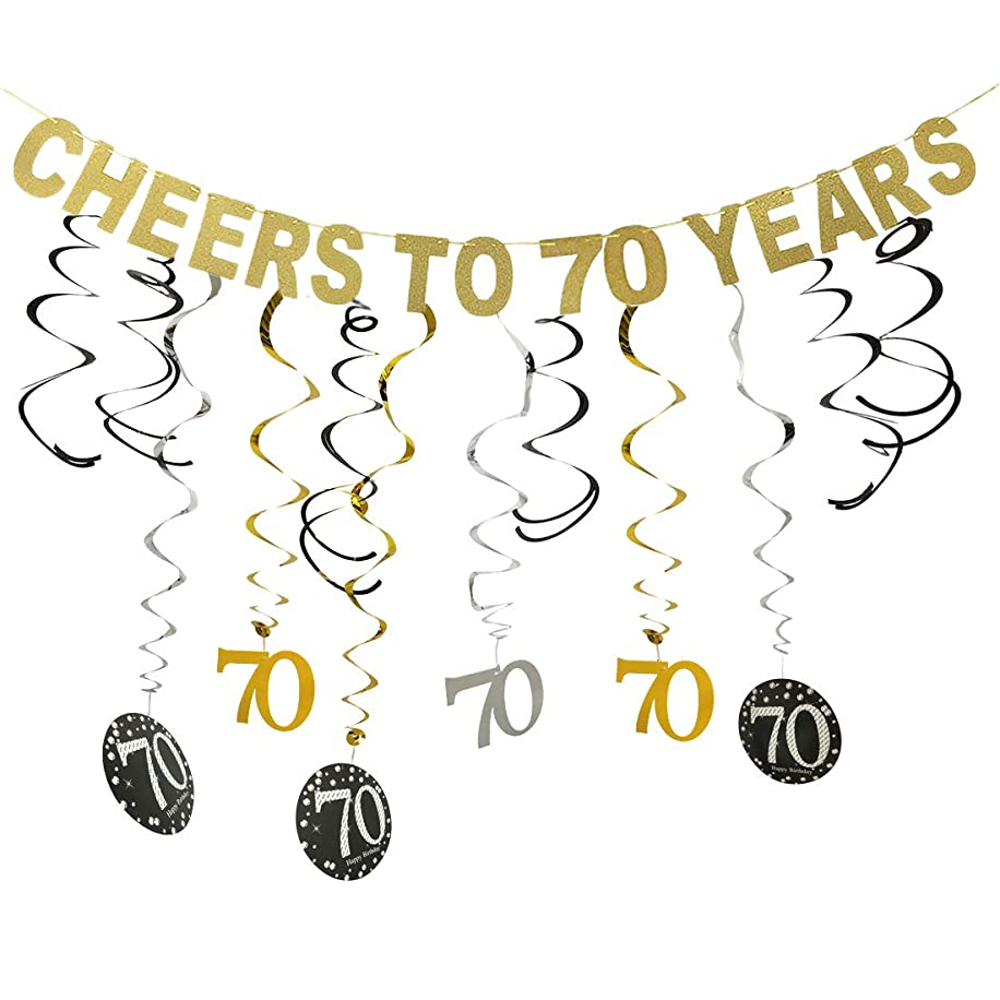 Gold 70th Birthday Party Decorations Kit - Cheers to 70 Years Banner and Sparkling Celebration 70 Hanging Swirls, Perfect 70 Years Old Party Supplies 70th Decorations