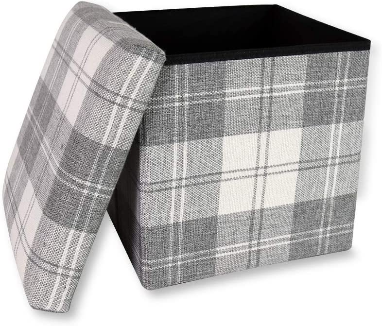 Storage Ottoman Cube Folding Ottomans with Storage Foot Rest Stool Seat Foldable Storage Boxes Square Toy Chest Padded Sofa Bed Bench for Space Saving 30x30x30 cm, White Plaid ...