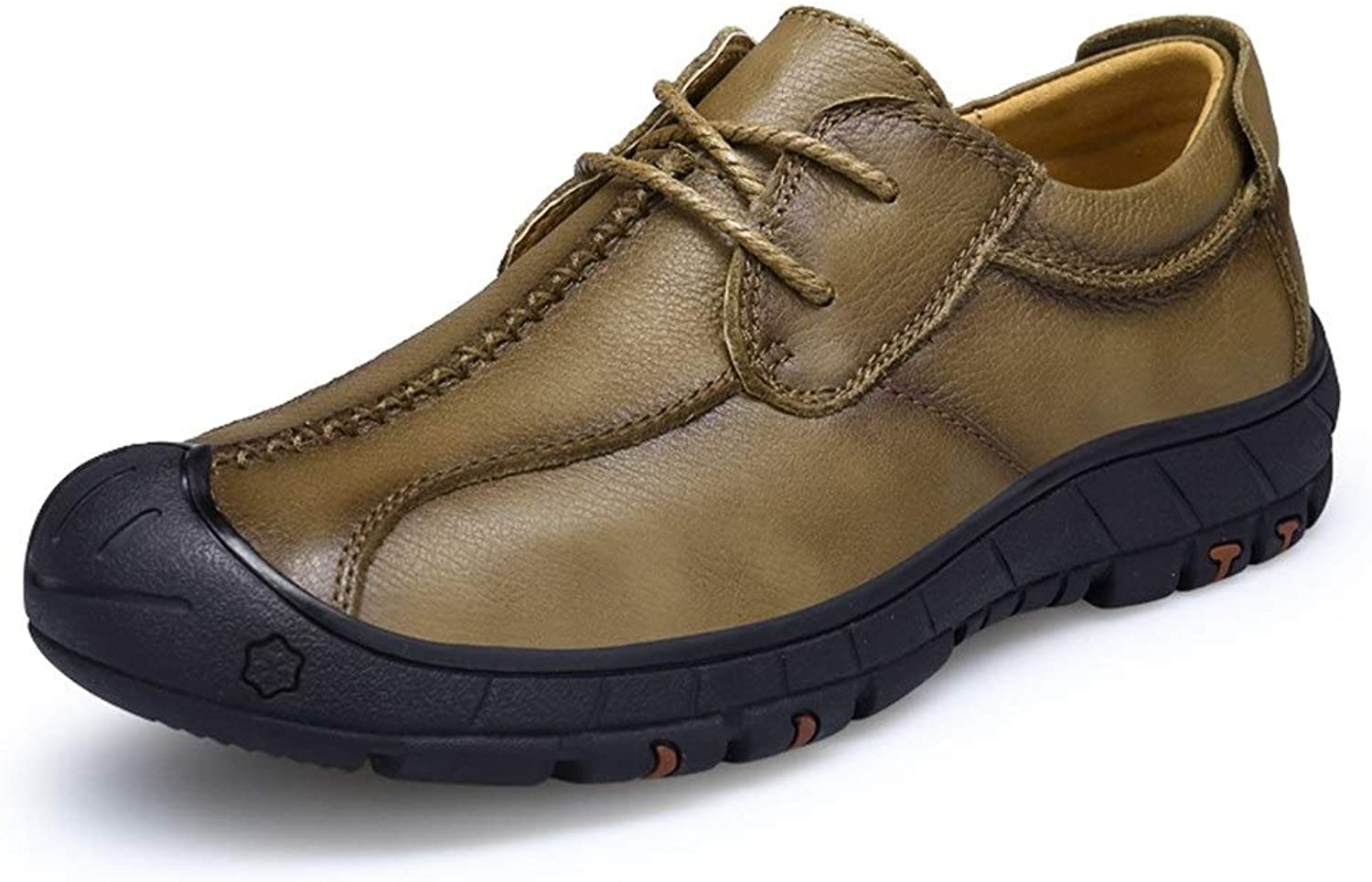 Easy Go Shopping Oxford shoes For Men Outdoor Loafer Lace Up OX Leather Light And Flexible Collision-resistant Toe Cricket shoes (color   Khaki, Size   7.5 UK)