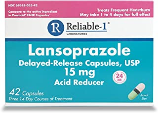 Reliable 1 Laboratories Lansoprazole Delayed-Release Capsules, USP 15 mg Acid Reducer 24HR, 14-Day Treatment, 42 Count